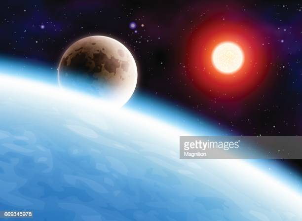 Planet Earth with Moon and Sun