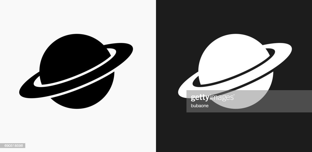Planet Saturn Icon on Black and White Vector Backgrounds