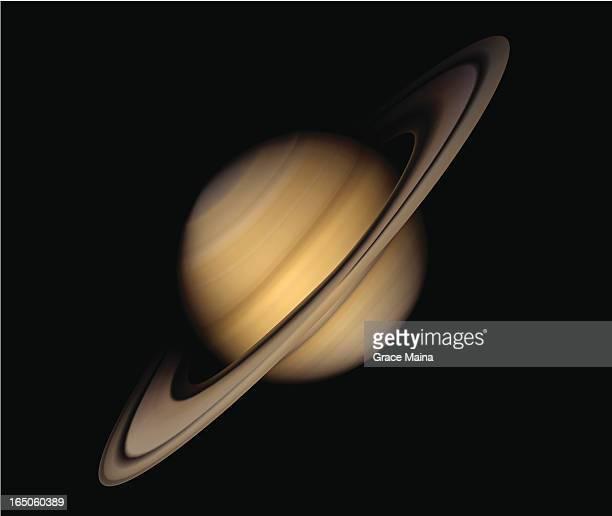 planet saturn - vector - saturn planet stock illustrations