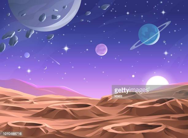 planet surface - planet space stock illustrations