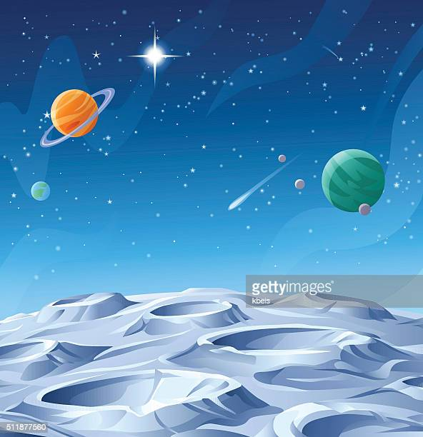 planets and asteroids - copy space stock illustrations
