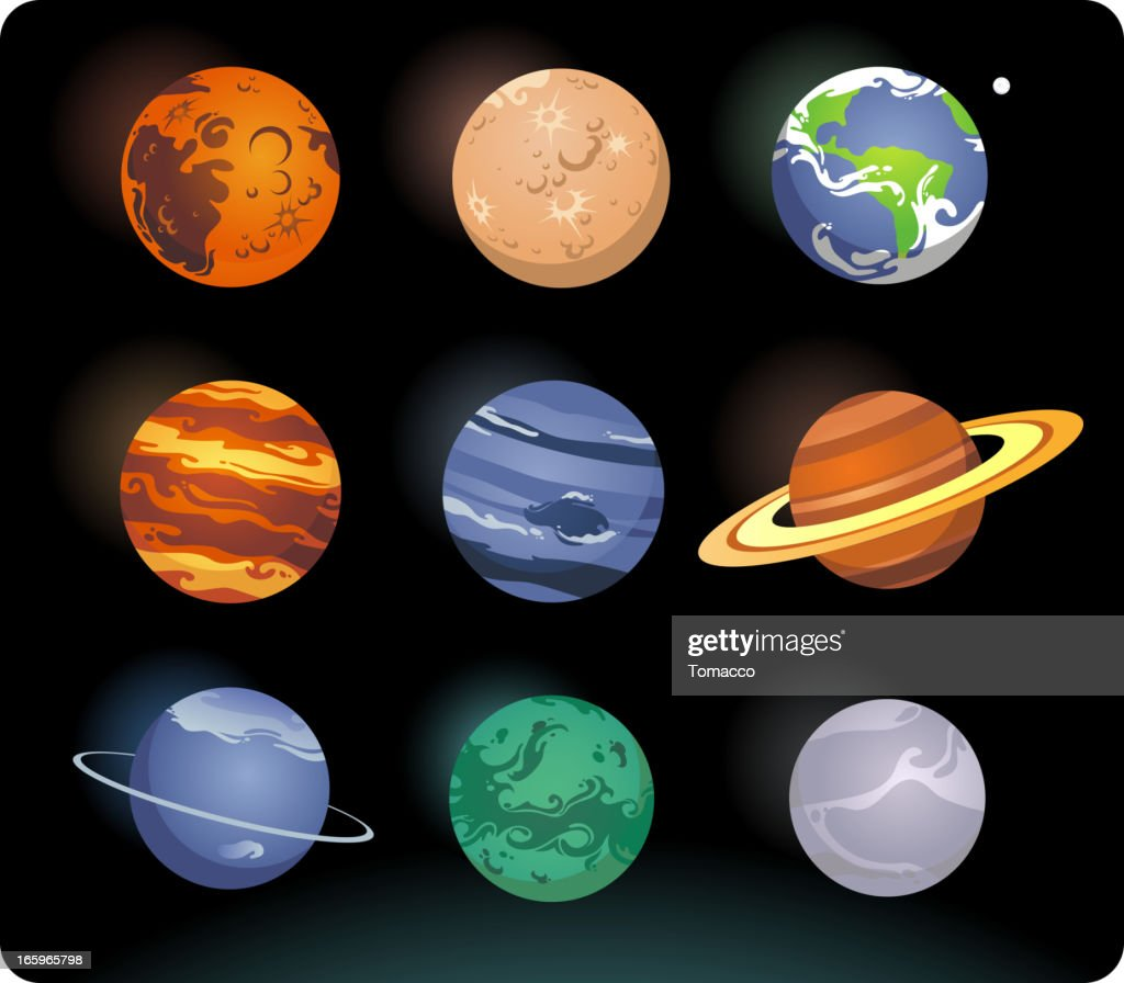 9 planets arranged in a square on a black background