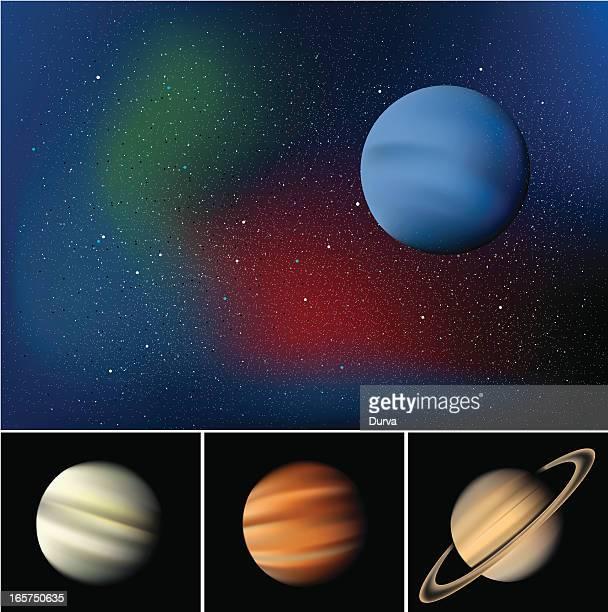 planets background - neptune planet stock illustrations