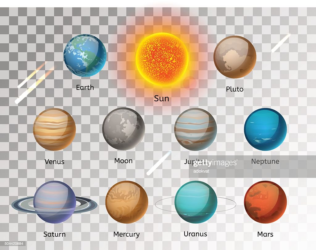 Planets colorful vector set on white background