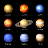 Planets of Solar System Icons. Vector