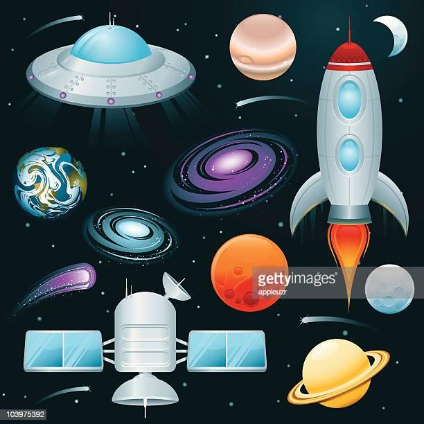 ilustraciones, imágenes clip art, dibujos animados e iconos de stock de planetas, espacio, estrellas y los buques de iconos - cometa espacio