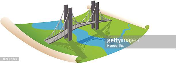 ilustraciones, imágenes clip art, dibujos animados e iconos de stock de planificación de un puente - puente colgante