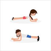 Plank exercise, flat design vector.