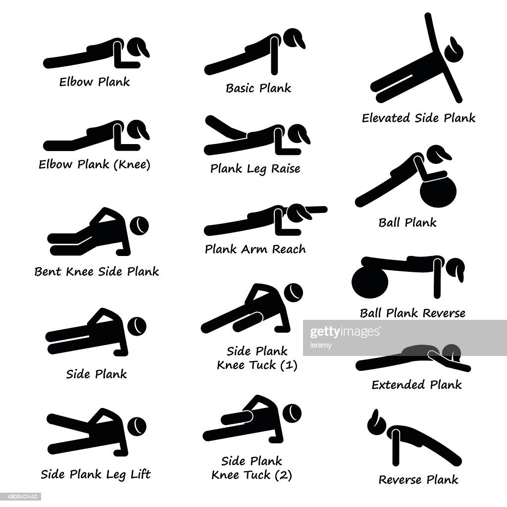 Plank Training Variations Exercise Stick Figure Pictogram Icons