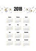 2018 planner calendar design in retro style.