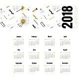 2018 planner calendar design.