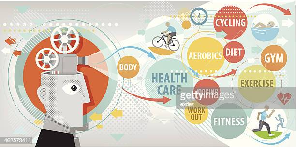 planning for healthy lifestyle - sports hall stock illustrations
