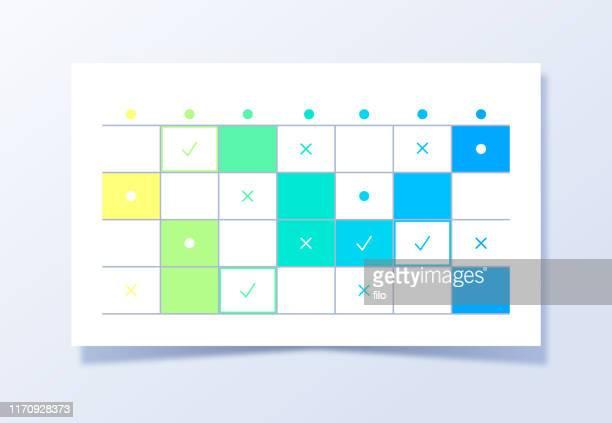 planning project management calendar grid - arrival stock illustrations