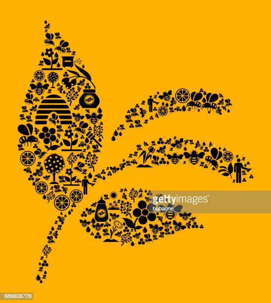 Plant  Bee and Honey Vector Icon Background