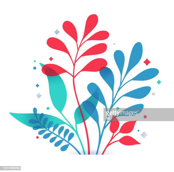 illustrazioni stock, clip art, cartoni animati e icone di tendenza di plant decorative leaf design - flora