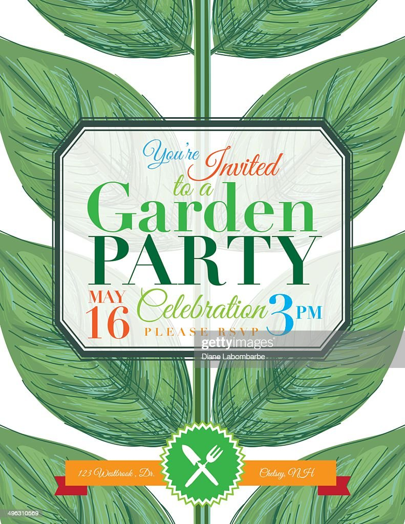 Plant Garden Party Invitation Template Vector Art | Getty Images