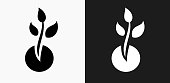 Plant Growth Icon on Black and White Vector Backgrounds
