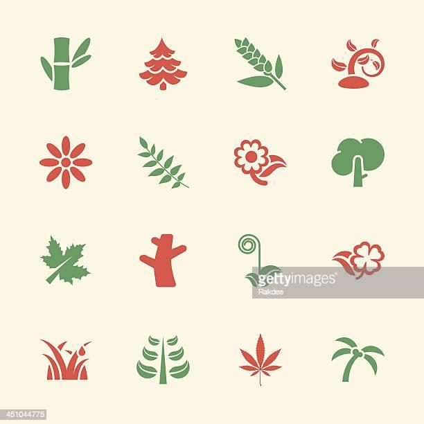 植物のアイコン-色/EPS 10 シリーズ