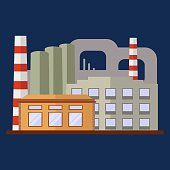 Plant or Factory Building. Flat Style Vector Illustration.