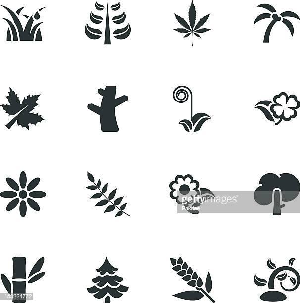 plant silhouette icons - marijuana leaf stock illustrations