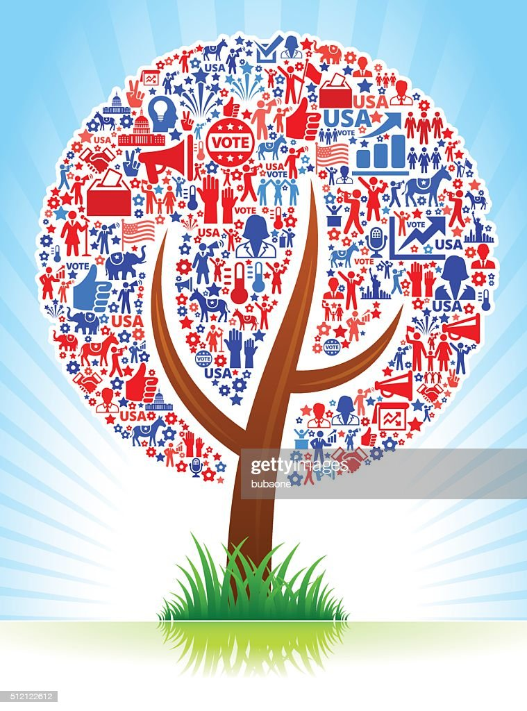 Plant Vote and Elections USA Patriotic Icon Pattern : Stockillustraties