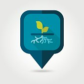 Plant with roots flat vector pin map icon, garden