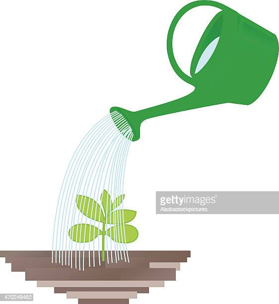 plant with watering can - watering can stock illustrations, clip art, cartoons, & icons