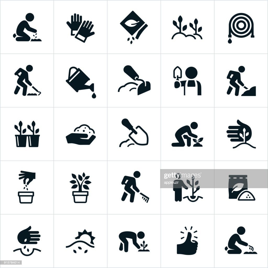 Planting and Growing Icons : stock illustration