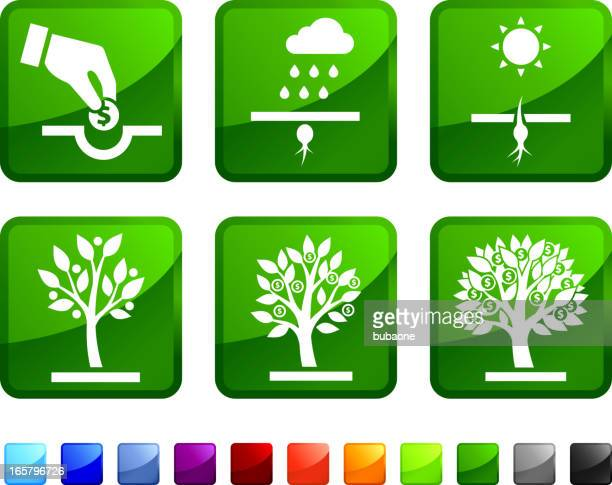 Planting Money Concept royalty free vector icon set stickers