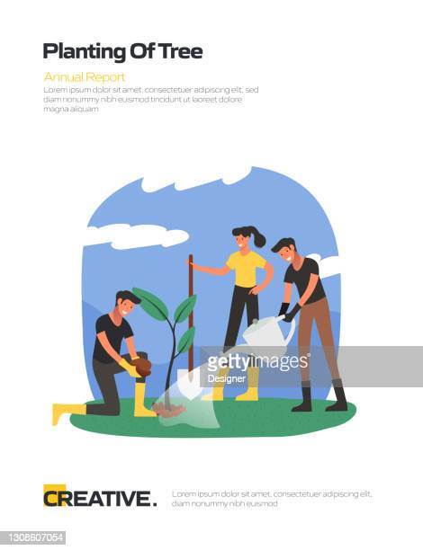 planting of tree concept flat design for posters, covers and banners. modern flat design vector illustration. - irrigation equipment stock illustrations