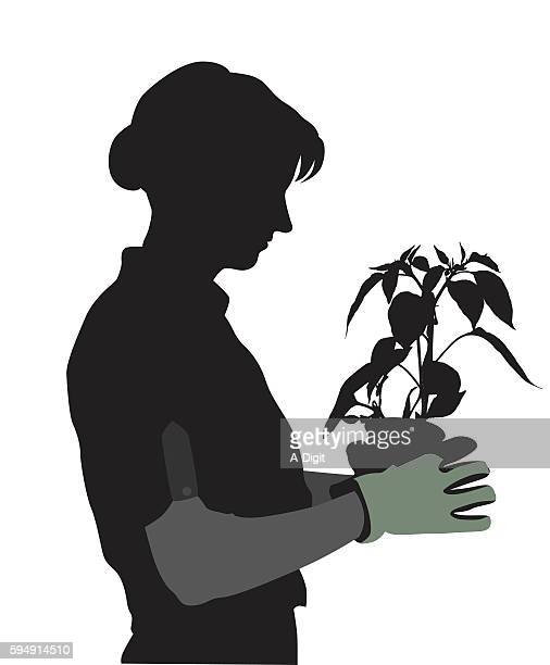 planting peppers in the garden - waist up stock illustrations, clip art, cartoons, & icons
