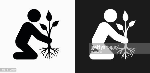 Planting Tree Icon on Black and White Vector Backgrounds