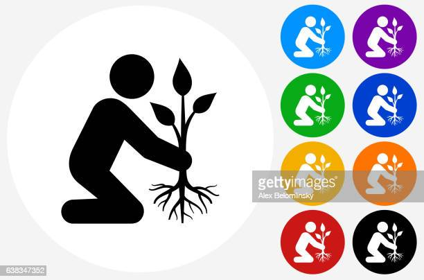 Planting Tree Icon on Flat Color Circle Buttons