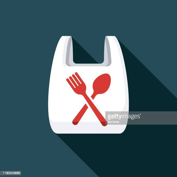 illustrazioni stock, clip art, cartoni animati e icone di tendenza di plastic bag food delivery icon - food delivery