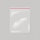 Plastic bag isolated on transparent background. Empty transparent plastic pocket bag.