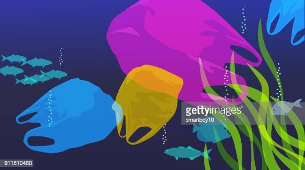 plastic bags in sea - plastic stock illustrations
