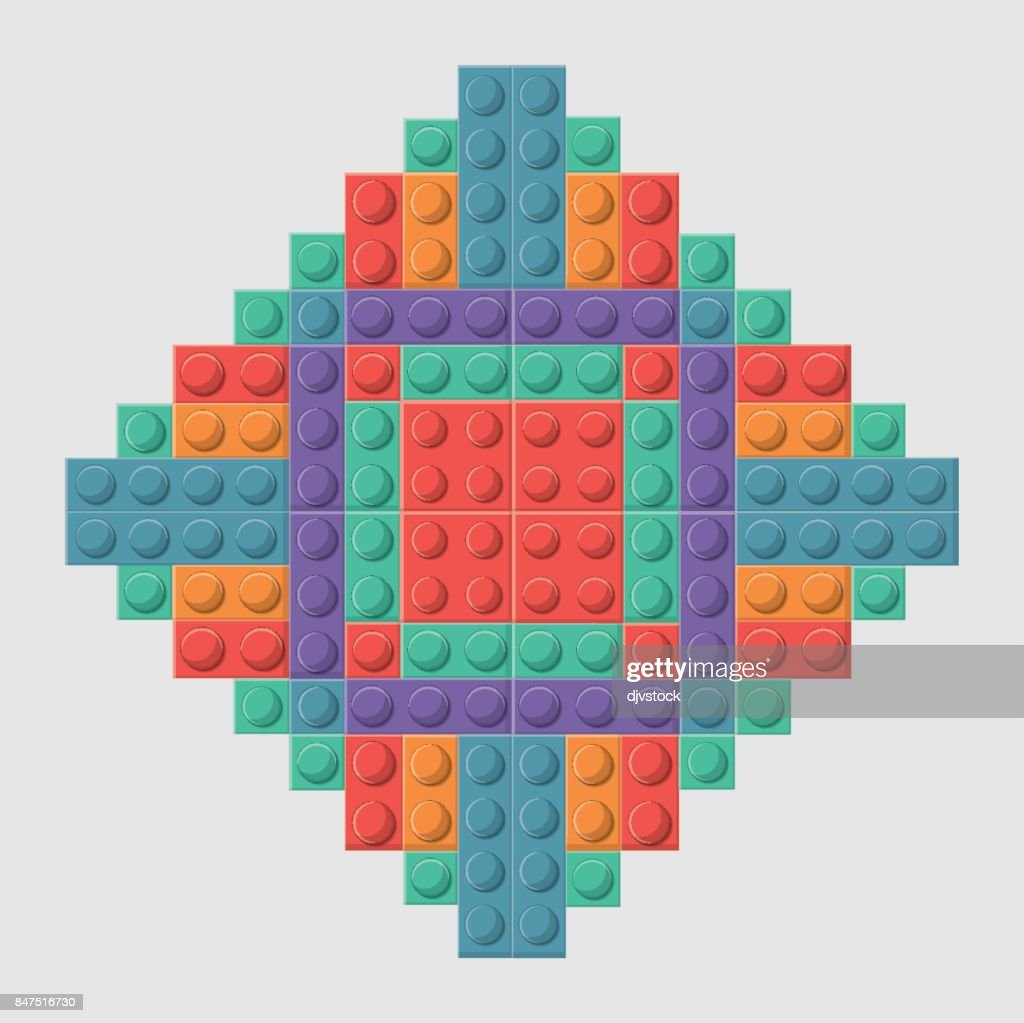 Lego icon. Abstract frame figure. Vector graphic