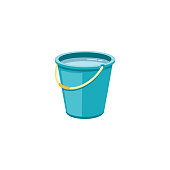 Plastic blue bucket with water for household cleaning and home washing.