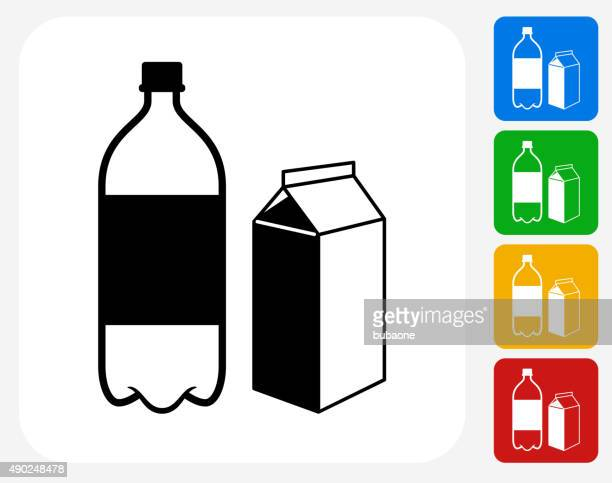 plastic bottle and cardboard container icon flat graphic design - jug stock illustrations, clip art, cartoons, & icons