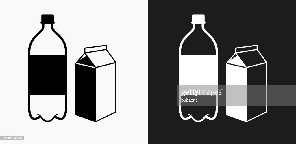 Plastic Bottle And Cardboard Container Icon On Black And White