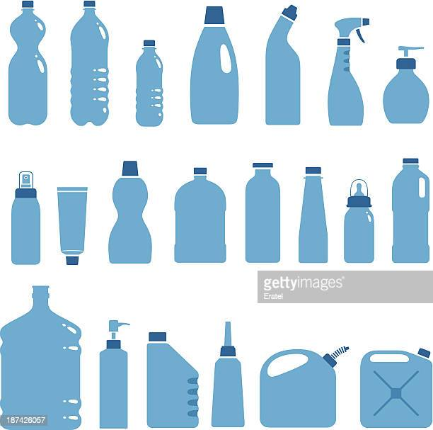 stockillustraties, clipart, cartoons en iconen met plastic bottles and cans - fles