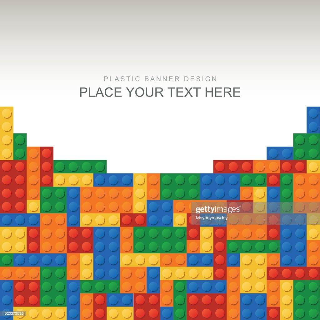 banner de tijolos de plástico : Ilustração