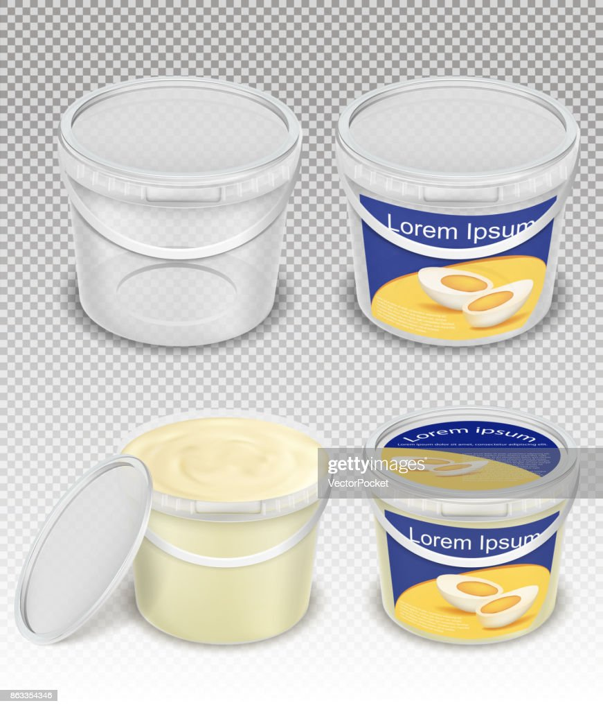 Plastic buckets for food product realistic vector