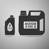 Plastic canister for motor machine oil icon isolated on grey background. Oil gallon. Oil change service and repair. Engine oil sign. Flat design. Vector Illustration
