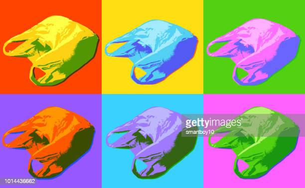 plastic carrier bags in a pop art style - water pollution stock illustrations