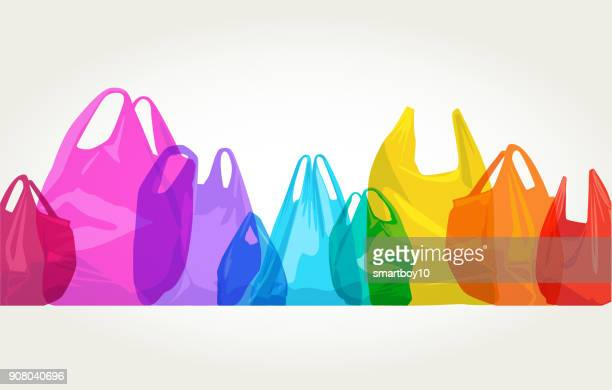 plastic carrier bags - water pollution stock illustrations, clip art, cartoons, & icons