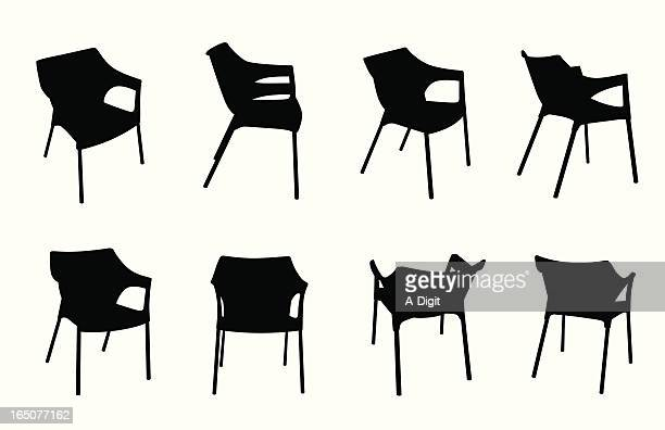 plastic chair vector silhouette - furniture stock illustrations, clip art, cartoons, & icons