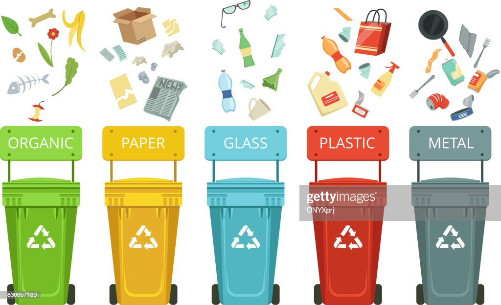 Plastic containers for garbage of different types. Vector illustrations in cartoon style