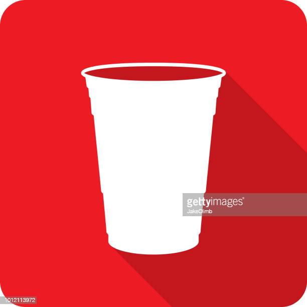 plastic cup icon silhouette - cup stock illustrations