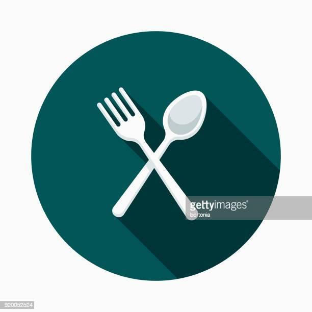 Plastic Cutlery Flat Design Street Food Icon